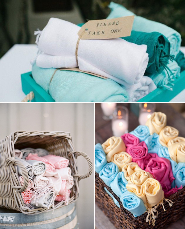 beach wedding pashmina favors for guests to stay warm