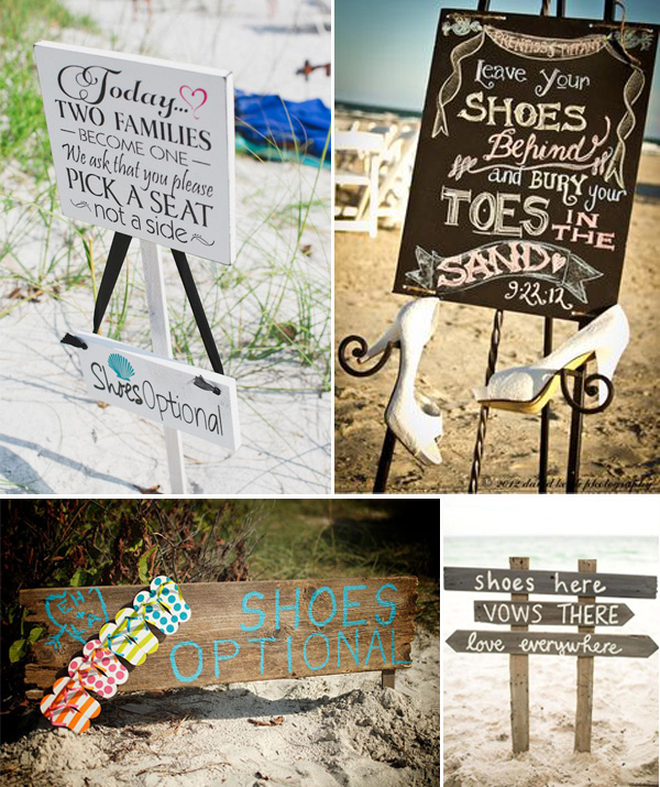 beach wedding signs for shoes options and ideas