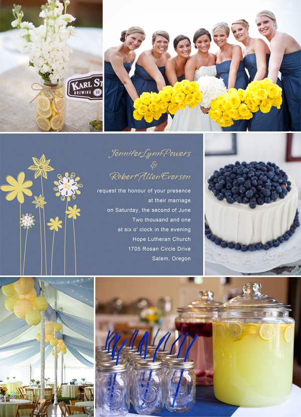 Blue And Yellow Rustic Outdoor Wedding Invitations Ideas 2014