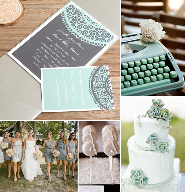 mint and grey lace wedding invitations and ideas for 2014