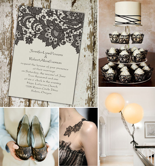 rustic and vintage lace black wedding invitations and ideas 2014