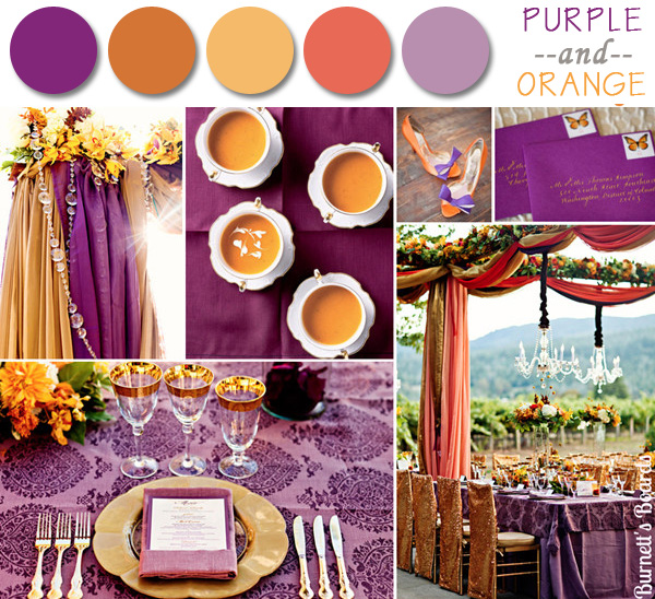 2014 purple and orange fall wedding color ideas