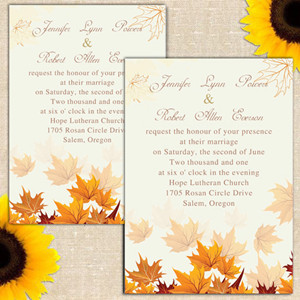 affordable fall maple leaves wedding invitations
