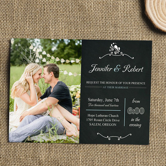 Engagement Photo Rustic Wedding Invitations