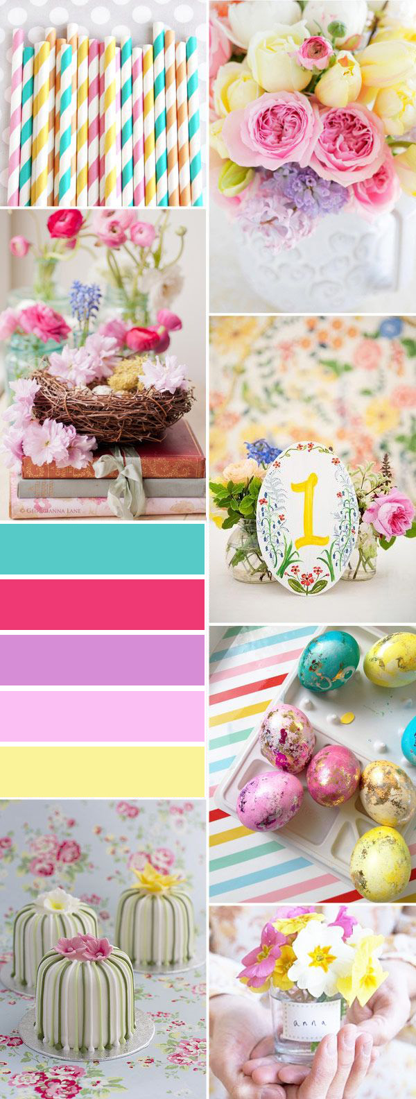 aqua pink and purple easter themed bridal shower ideas