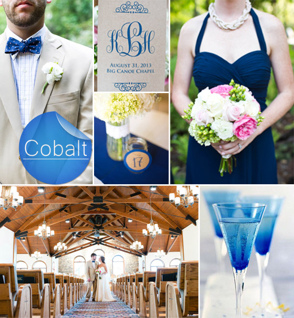 cobalt and pink fall wedding color ideas 2014