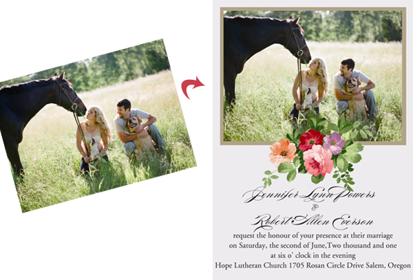 countryside outdoor wedding photo invitation ideas with pets