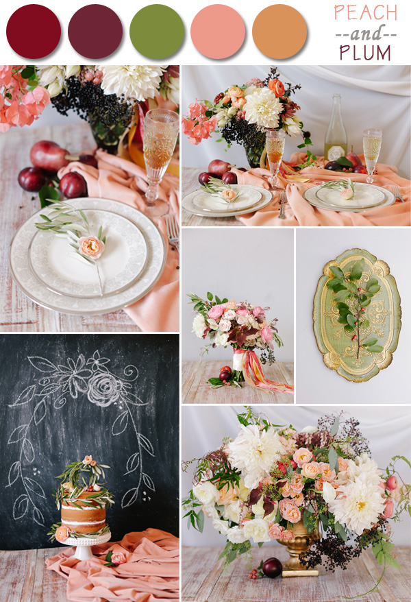 fall wedding colors peach and plum scheme for 2014