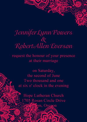 hot pink and navy blue lace wedding invitations 2014