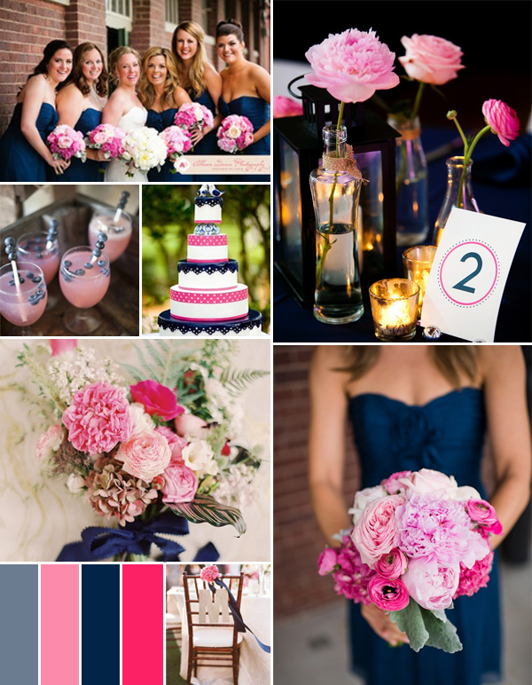 hot pink fuchsia and navy blue summer wedding color ideas