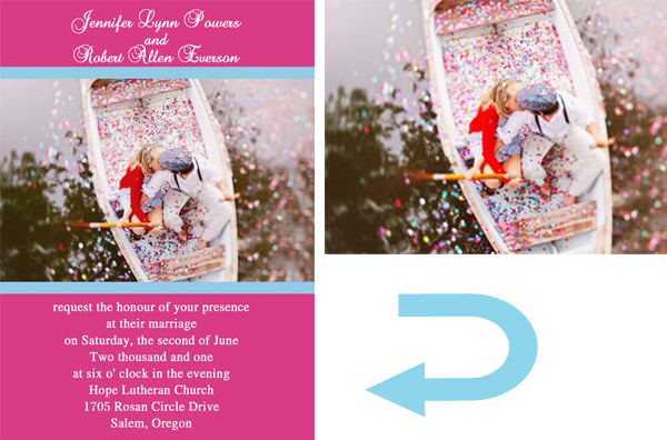 pink and blue lakeside photo wedding invitations 2014