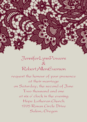 pink and burgundy fall lace wedding invitations 2014