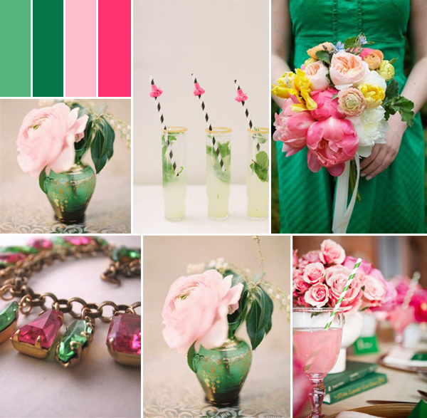 pink and emerald fall wedding color ideas for 2014