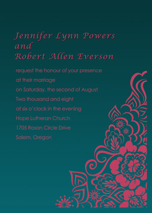 pink and emerald wedding invitations 2014