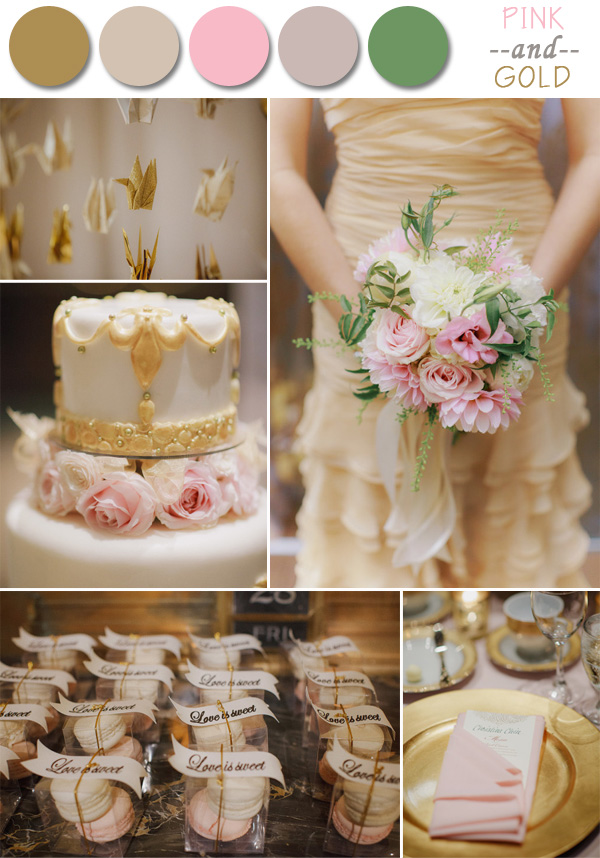 pink and gold fall wedding color ideas for 2014 autumn
