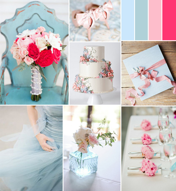 pink and light blue spring wedding color ideas