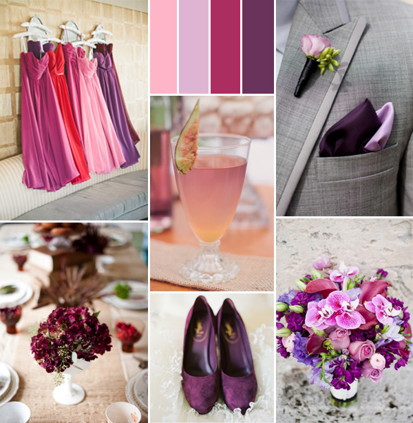 pink and shades of purple fall wedding color trends 2014