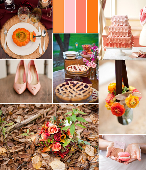 pink coral and orange fall wedding color ideas 2014