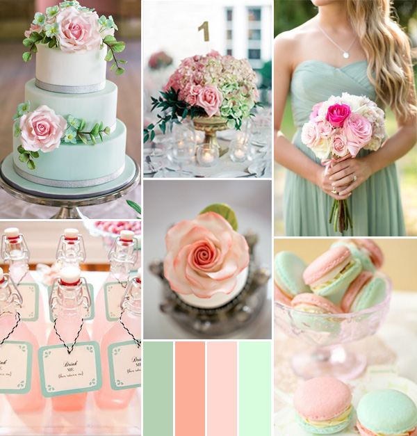 pink peach and mint spring wedding color ideas