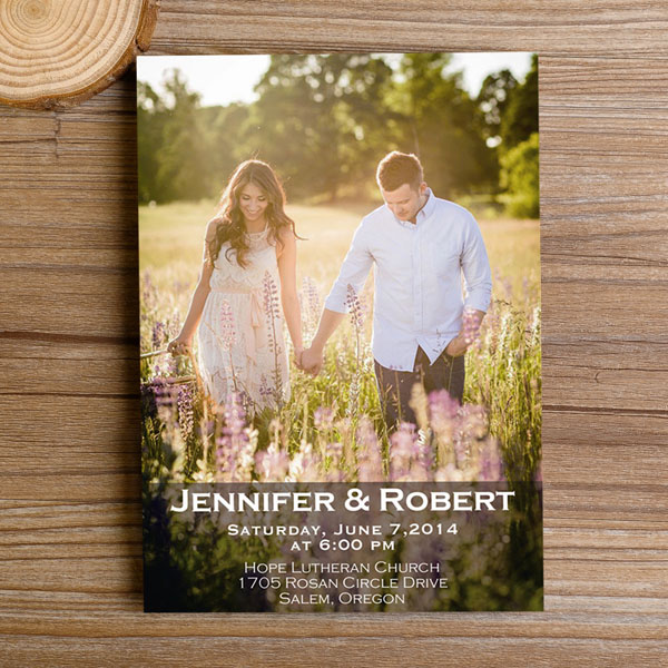Engagement Photo Romantic Wedding Invitations