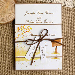 rustic burlap fall wedding invitations 2014
