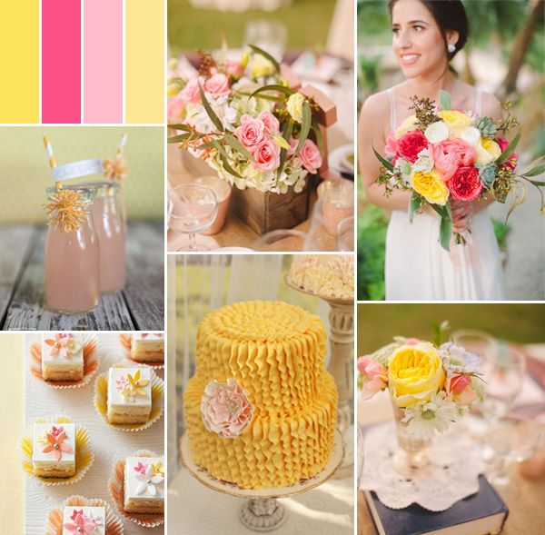 summer pink and yellow wedding color ideas 2014