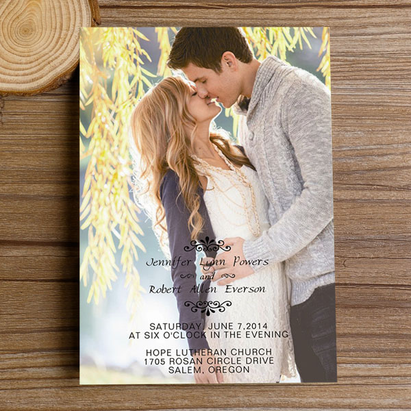 Engagement Photo Fall Wedding Invitations