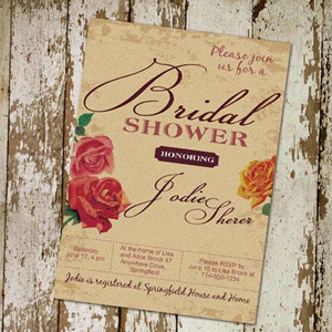 vintage floral bridal shower invitations for easter themed party