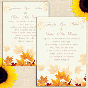 affordable fall maple leaves fall wedding invitations 2014