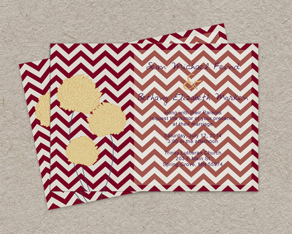 burgundy and gold purple fall chevron wedding invitations 2014