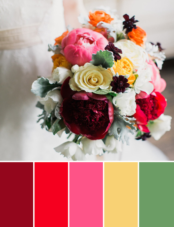 burgundy red orange and yellow fall wedding bouquets arrangement ideas 2014
