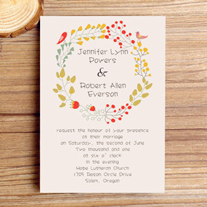 cheap boho floral fall wedding invitations 2014