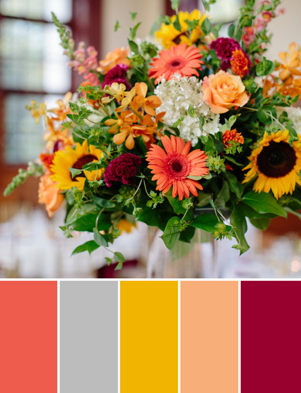 country coral burgundy and yellow helenium fall wedding flower ideas 2014