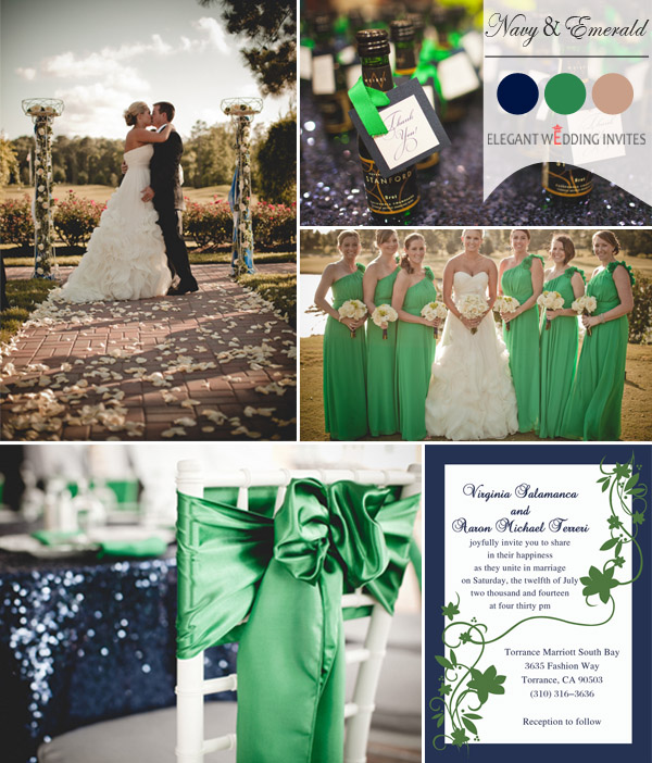 emerald and navy blue fall wedding color ideas 2014