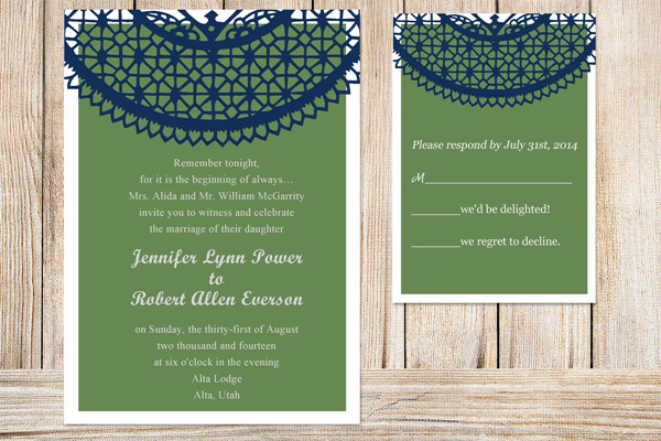 fall navy blue and cypress green pocket wedding invitations 2014 trends