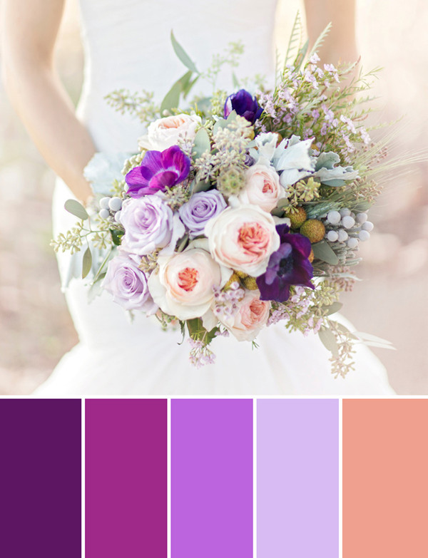 fall wedding bouquet flower ideas with shades of purple colors for 2014