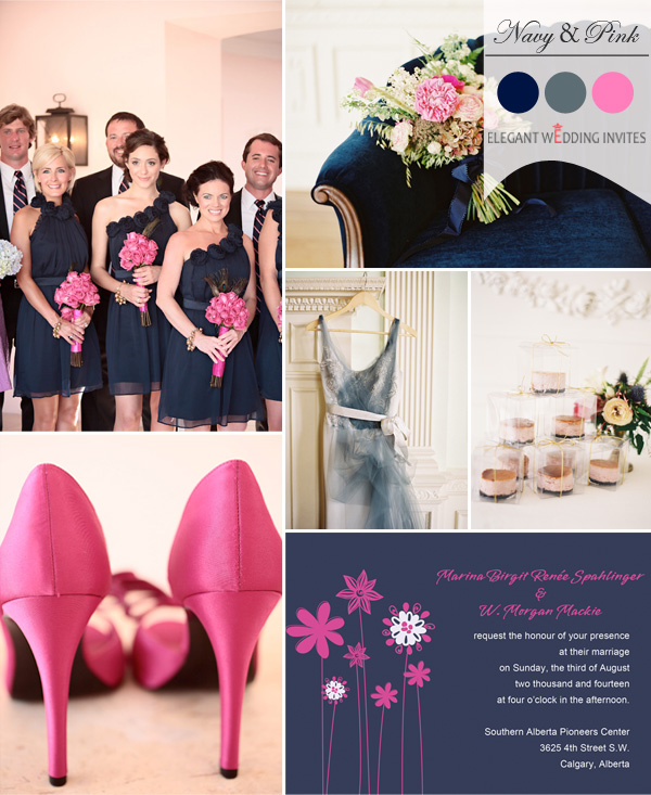navy blue and hot pink wedding color ideas for fall 2014