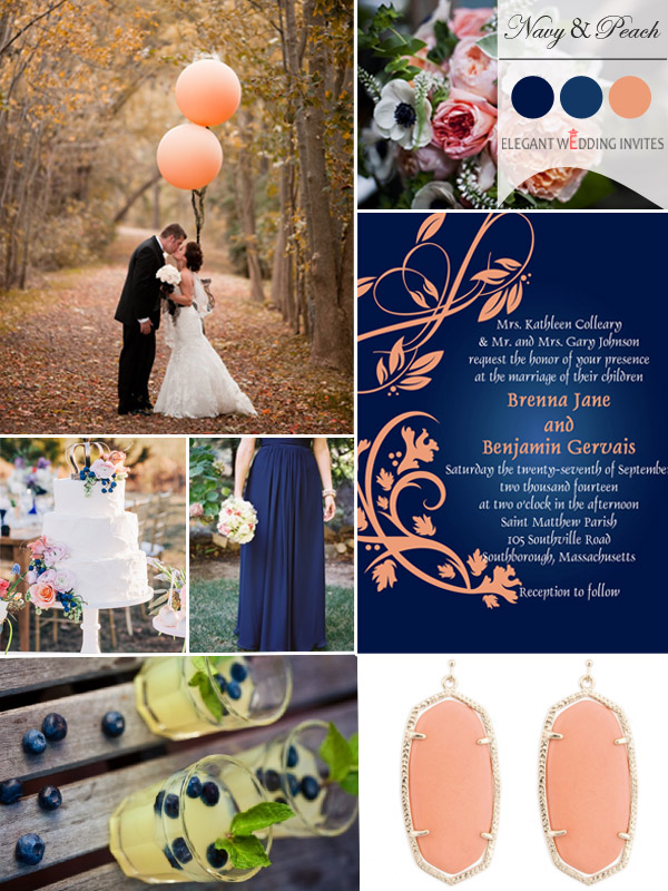 navy blue and peach fall wedding color ideas 2014