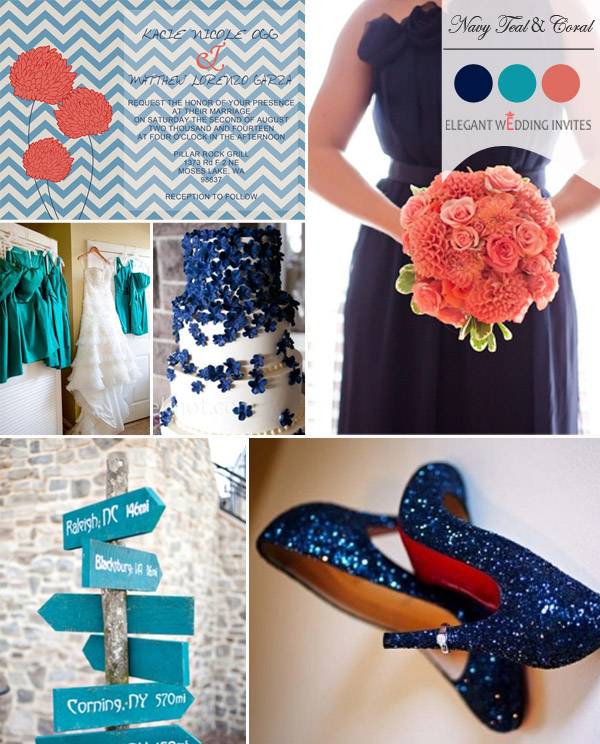 navy blue teal and coral fall wedding color ideas 2014