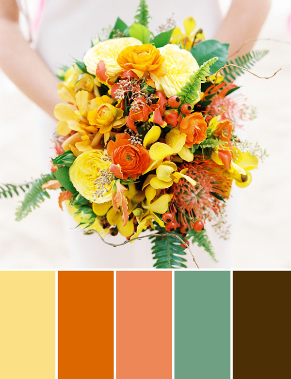 orange and yellow protea fall wedding bouquets for 2014 and 2015