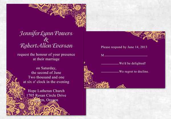 Purple And Orange Fall Lace Printed Wedding Invitations 2014