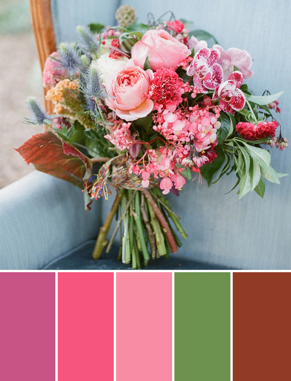 purple and shades of pink fall wedding bouquets 2014