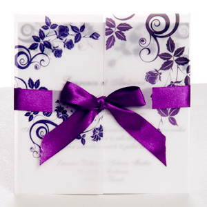 purple tri folded ribbon fall wedding invitations 2014