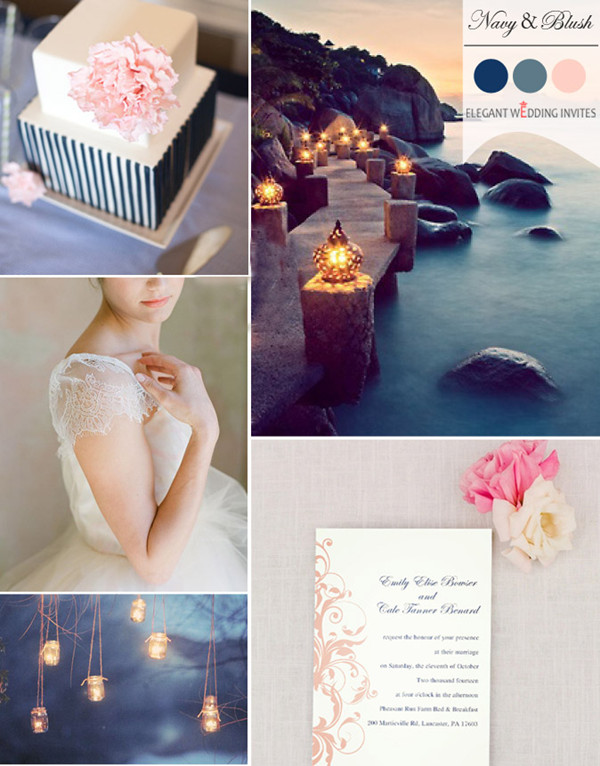 trending blush and navy blue wedding color palettes for fall 2014