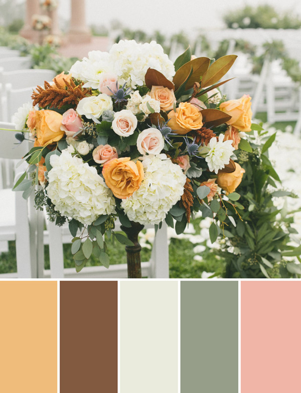 yellow and brown Dahlia Rose fall wedding flower decoration ideas 2014