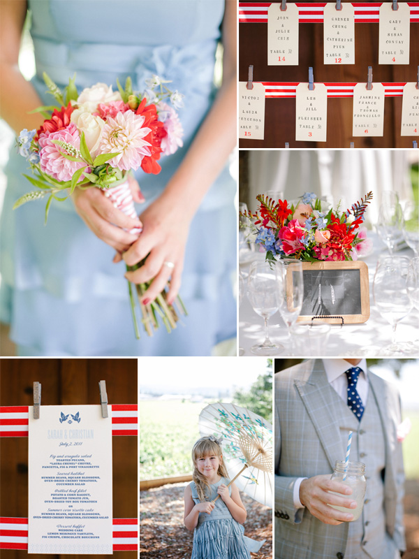 4th of july inspired pastel blue and red summer wedding ideas