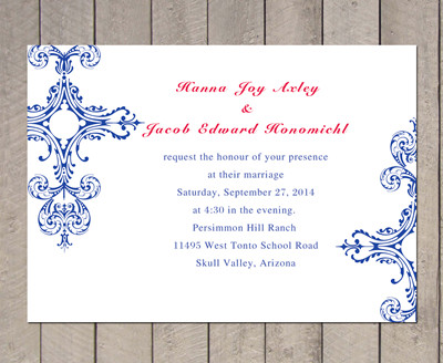 Blue and Red Vintage Wedding Invitation