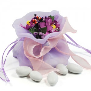 purple and pink wedding favor bags