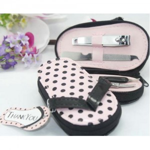 pink wedding favor slippers manicure beauty tools