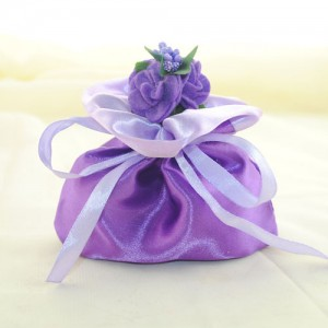 purple and silver wedding favor bags